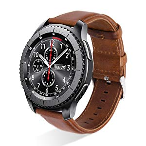 Gear S3 Watch Bands 46mm,MroTech Gear S3 Frontier Band 22mm Genuine Leather Strap Replacement S3 Watch Band Compatible Samsung Galaxy Watch ...