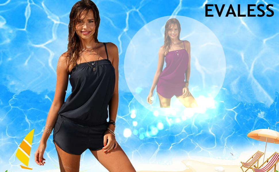 EVALESS Women Solid One Piece Spaghetti Straps Blouson Swimwear Swimsuits