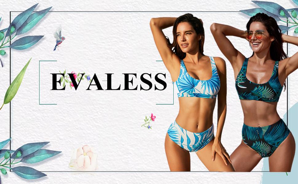 1ae2e1eb05549 EVALESS Women Sexy 2 Pieces Push Up Bikini Print Crop Padded Vest Top with High  Waist Bottom Swimwear