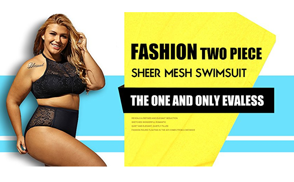 2f261227080 Womens Plus Size Sheer Mesh Padded Push Up Bikini 2PCS Bikini Set Swimsuit  Offered by EVALESS