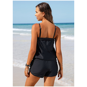 EVALESS Women Solid One Piece Spaghetti Straps Blouson Swimsuits