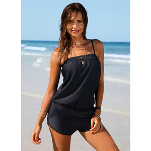 EVALESS Women Solid One Piece Spaghetti Straps Blouson Swimwear Swimsuits black