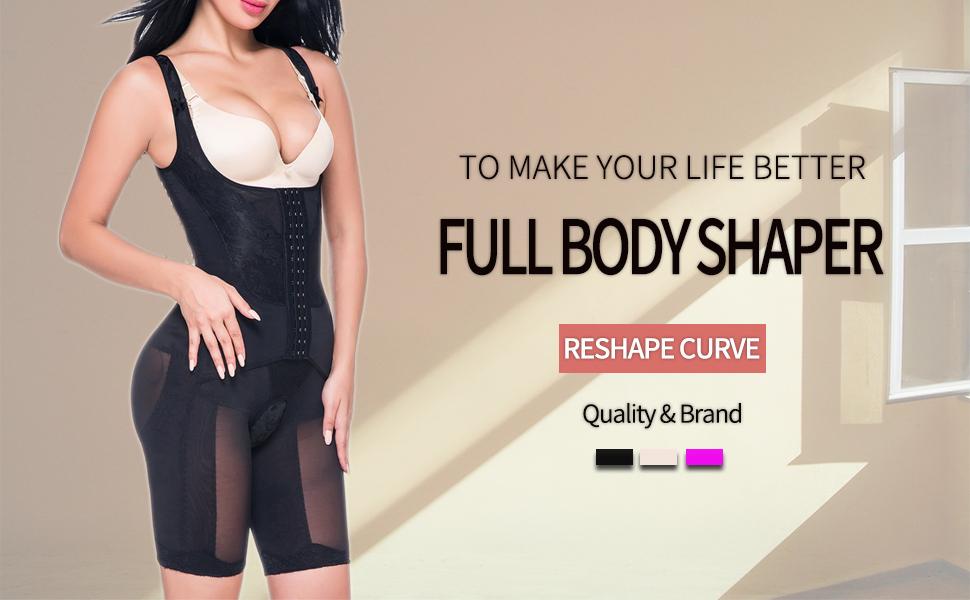 765c21710f KIWI RATA Women s Open Bust Full Body Shaper Waist Trainer Girdle Mid Thigh  Reducer Bodysuit Slimmer Tummy Control Shapewear