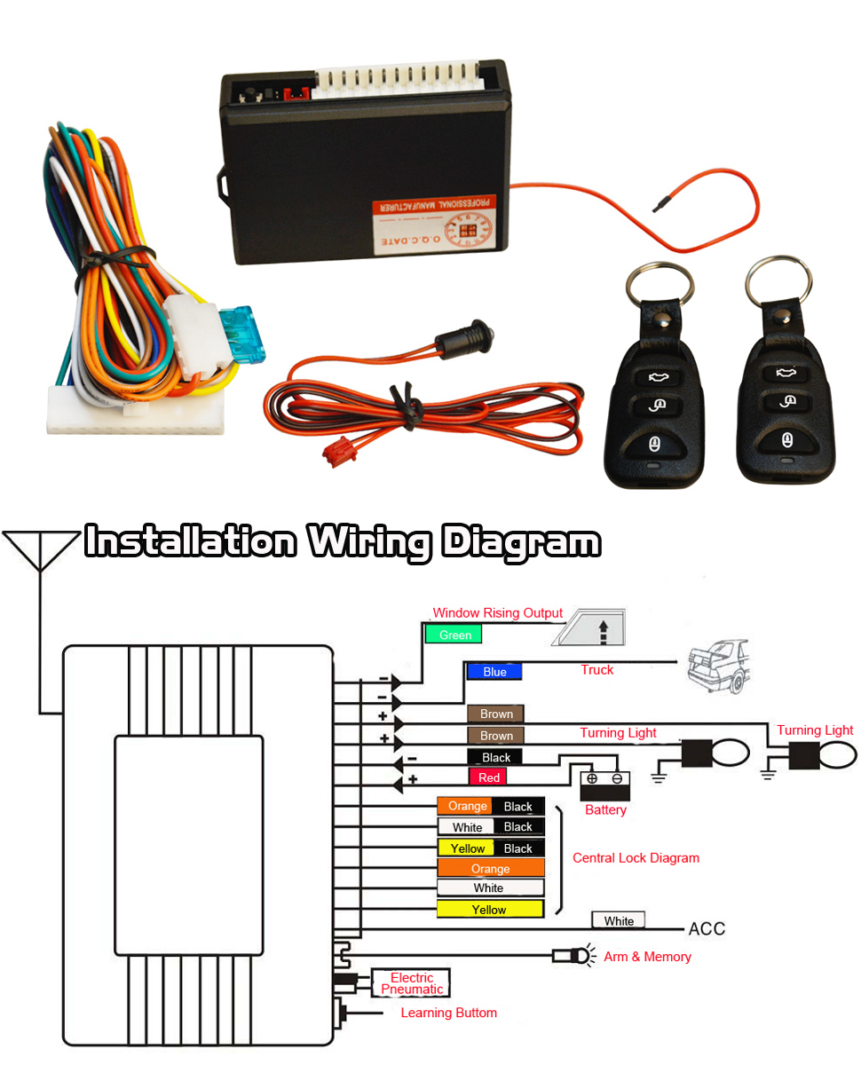 Amazon Com Ficbox Universal Car Door Lock Vehicle Keyless Entry Automatic Transmission Wiring Diagram Toyota Tundra Stereo Wiring Diagram Car Alarm Wiring Guide At IT-Energia.com