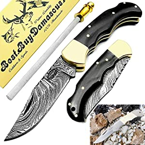 buffalo horn camel bone bones pocket knife knifes knives folding knife folder damascus steel knives