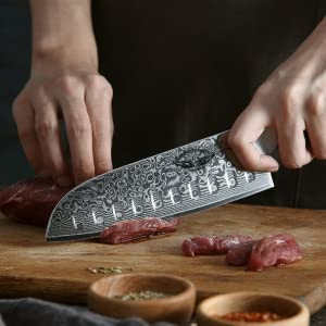 BBD1-C13 santoku knife, Japanese VG10 Damascus Steel 210MM Santoku Professional Chef's Knife