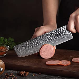Nakiri Knife Japanese VG10 Damascus Steel Knife Nakiri Professional Chef's Knife