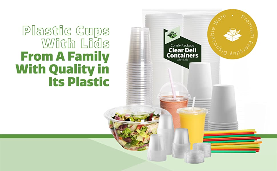 comfy package plastic cups with lids smoothie cups and lids straw quality disposable