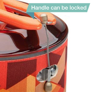 With the fixed lock handle, easy to hold the pot even it fills of water. The handle can be locked with the pot when package. It makes everthing in the pot ...
