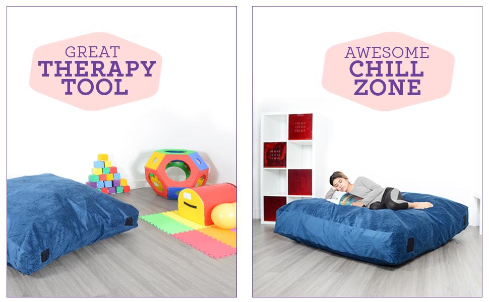 Renewed Milliard Crash Pad Bonus Washable Cover 5ft x 5ft Sensory Pad with Foam Blocks for Kids and Adults