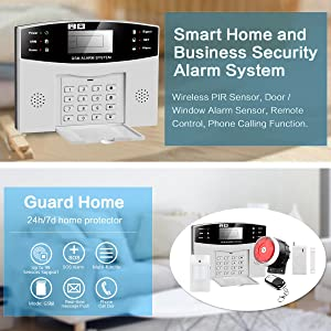 Thustar Professional Wireless Home Office Security System Remote Control Intelligent LED Display Voice Prompt House Business GSM Wireless Burglar ...