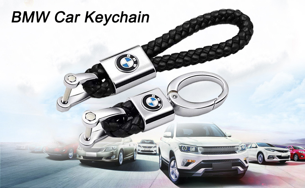QBUC 2Pack Genuine Leather keychain for BMW Key Chain Car Logo Key Chain Accessories Simple, Elegant, Durable(Red)