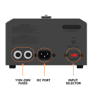 Input Selector to select the input voltage when stepping up from 115V to 230V or stepping down from 230V to 115V.