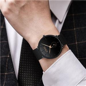 mens watch black mesh ultra thin minimalist waterproof stainless steel wrist watches