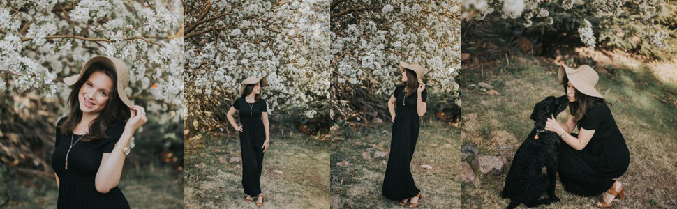 short sleeves maxi dresses with pocket