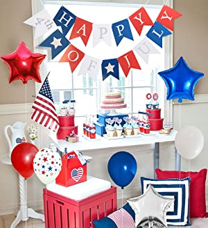 Christmas In July Party Supplies.Moon Boat Patriotic Decorations Star Latex Balloons Red Blue White Fourth Of July Party Supplies 115ct
