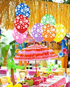 Luau Surrounded By Bright Hibiscus Flowers With A Whole Set Of Balloons To Make Your Party Fabulous Great For Girls Birthday Or Graduation