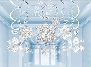 Amazon Com 36ct Christmas Snowflake Hanging Swirl Decorations
