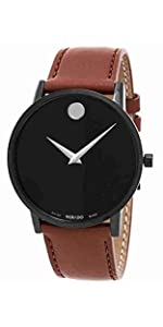 Movado Men's Museum Black PVD Watch with a Concave Dot Museum Dial