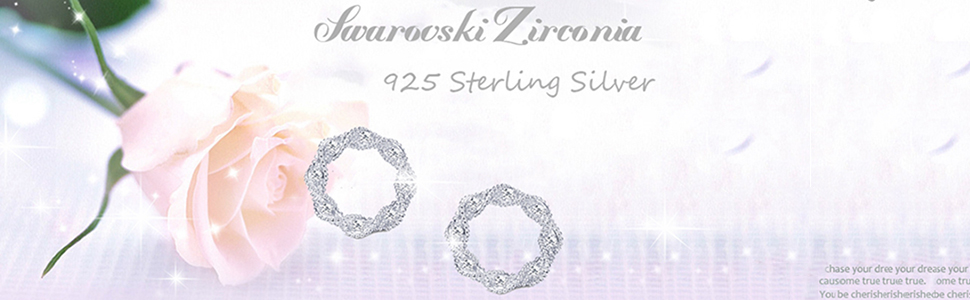 Sllaiss Made with Swarovski Zirconia Rope Round Circle Stud Earrings for Women Girls 925 Sterling Silver Twist Open Circle Stud Earrings Hypoallergenic Bridesmaids Jewelry