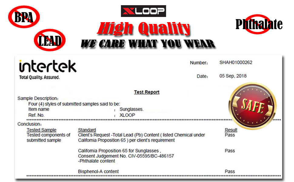 high quality we care what you wear test report of passing the test of BPA LEAD and Phthalate safe