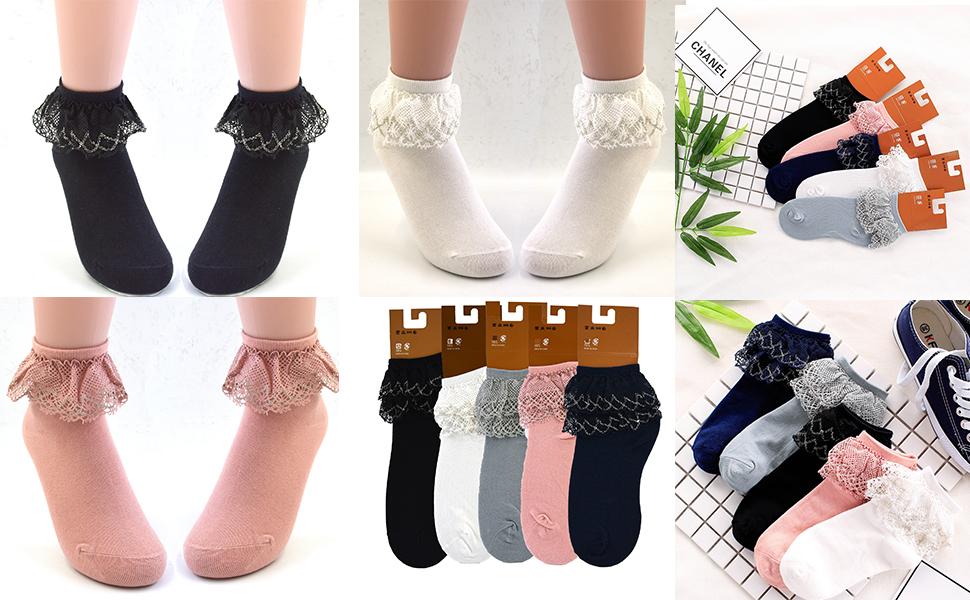 f161bf9e7 VIVIKI Women Lace Cotton Frilly Ruffle Socks Ankle Socks A08 (Light ...