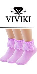 1bc78c213 VIVIKI Women Lace Cotton Frilly Ruffle Socks Ankle Socks Pearl Socks ...