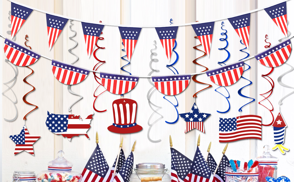 USA Themed Red White /& Blue Spots /& Stripes Hanging Fan Decorations x 12
