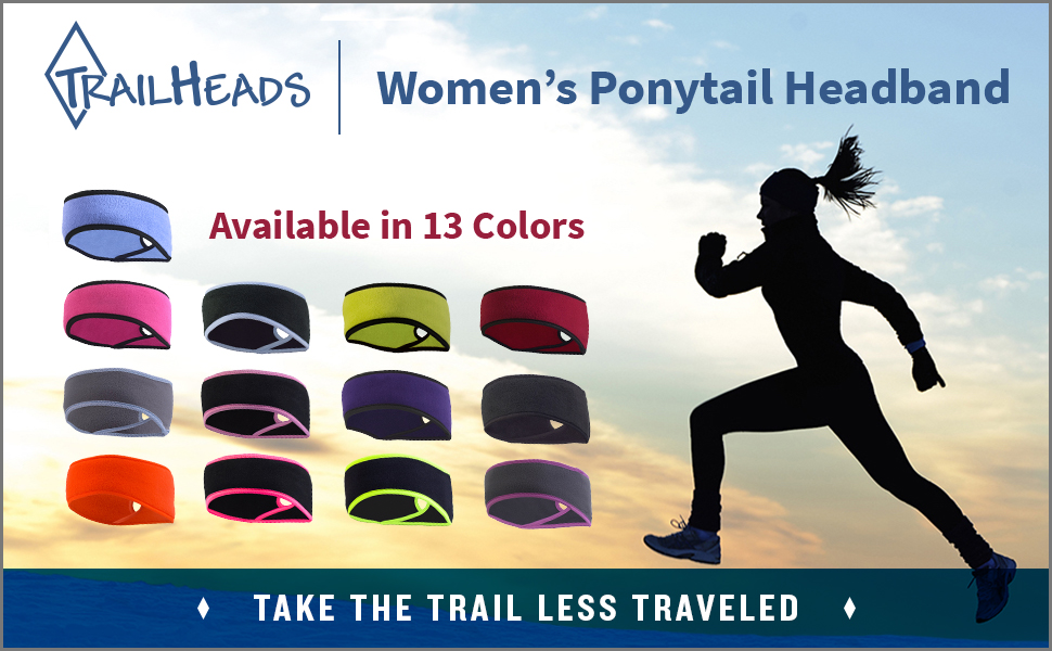 Woman in a running headband runs in background. 13 color options of the ponytail headband are shown.