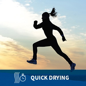 """Woman running outside in cold weather in moisture wicking running gloves. Captioned """"quick drying"""""""