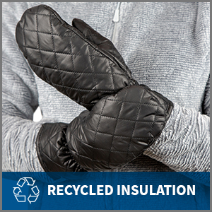 close up of women wearing black winter mittens. Text reads recycled insulation.