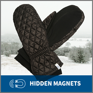 Pair of women's insulated mittens in front of winter background. The mittens have hidden magnets.