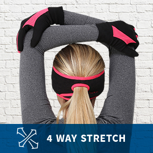 Woman stretches in pink and black running gloves. Captioned 4 way stretch.