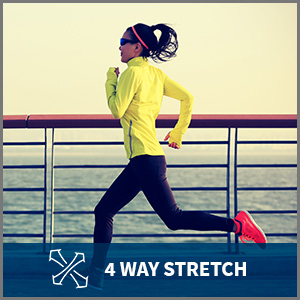 woman runs alongside the ocean wearing exercise accessories. Captioned 4 way stretch