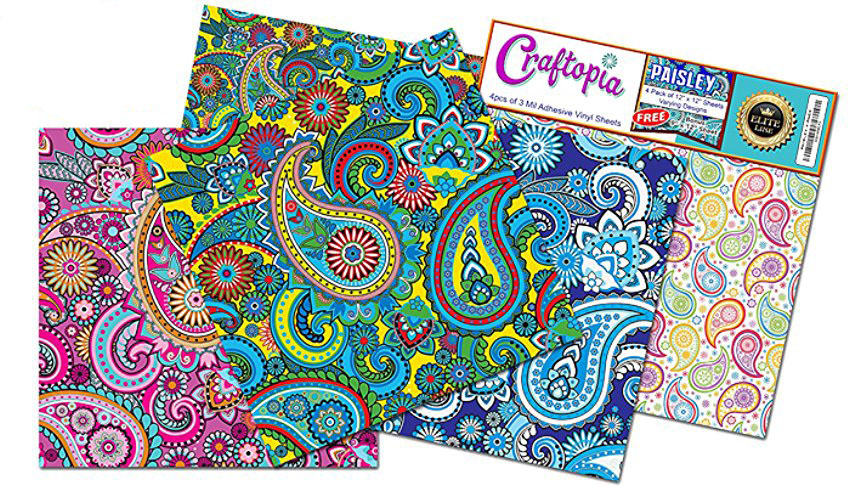Craftopia 39 s paisley pattern self adhesive for Vinyl sheets for crafts