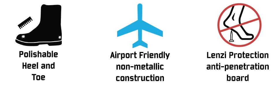 polish heel toe airport friendly non metallic protection anti penetration
