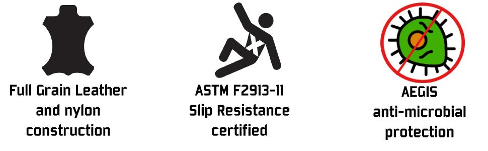 full grain leather nylon construction slip resistant anti microbial