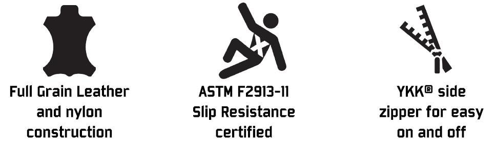leather nylon slip resistance ykk side zipper
