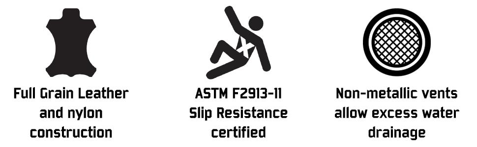 leather nylon slip resistance non metallic vents drain water