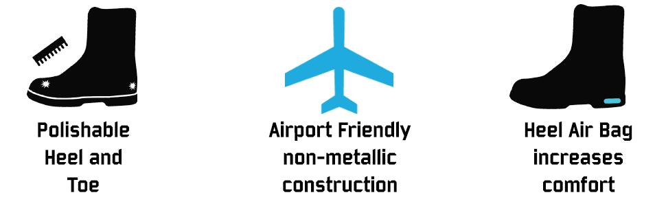 polishable professional formal airport friendly non metallic air bag comfort