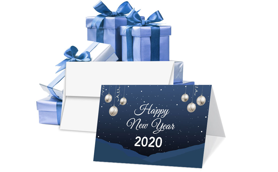 2020 Happy New Year Blue Holiday Greetings Fold Over Cards Envelopes For Christmas And New Yrs Gifts And Presents 25 Cards And 25 Envelopes Per