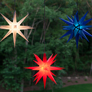 red white and blue moravian stars