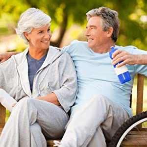 Swanson Health Vitamins and Supplements Couple Over 60 Sitting on Bench