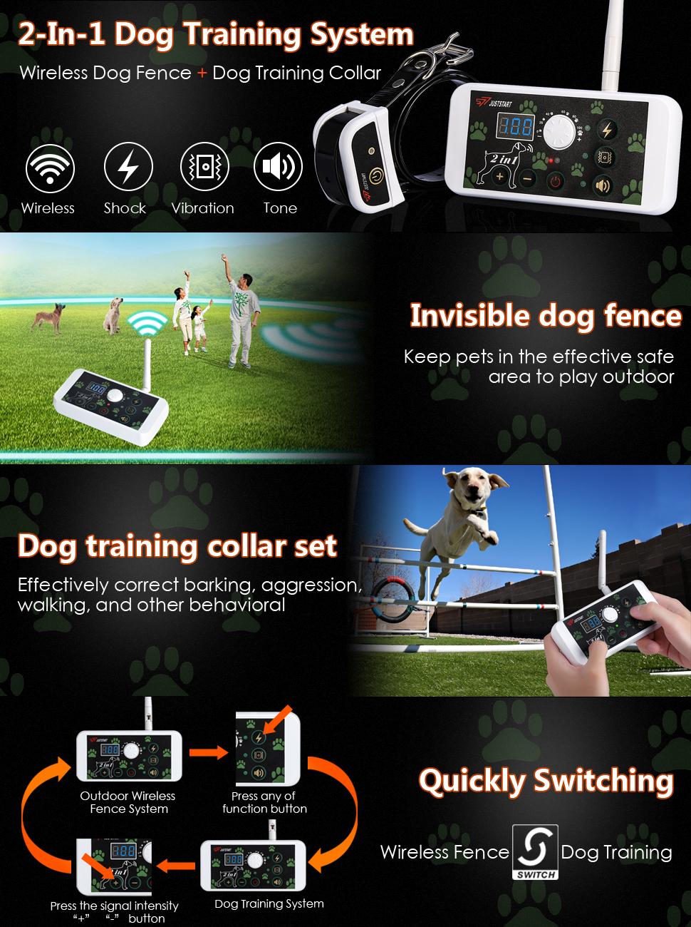 Amazon Com 2 In 1 Wireless Dog Fence System Amp Dog