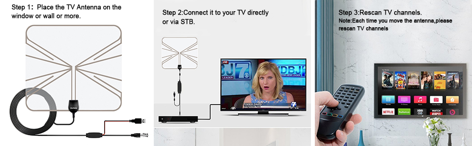 TV Antennas for Digital TV Indoor 500 Mile Long Range with Detachable  Amplifier Signal Booster for 4K 1080P HD Free TV Channels-13ft Coaxial Cable