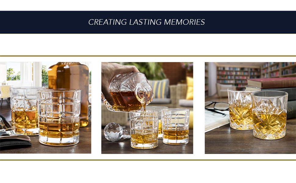 Variety of Whiskey and Bourbon Set Collections with Handsome, Detailed Etching, Diamond Cut Design