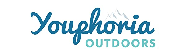 Blue and teal Youphoria Outdoors word logo with gray mountain scape.