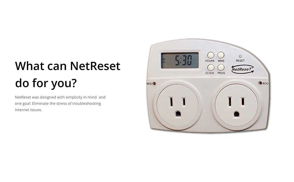 NetReset-Digital Timer Outlet Automating Modem and Router Reboot Net Reset  Turns Modem on 2 Mins Before Router Providing Most Secure,Fast,and Reliable