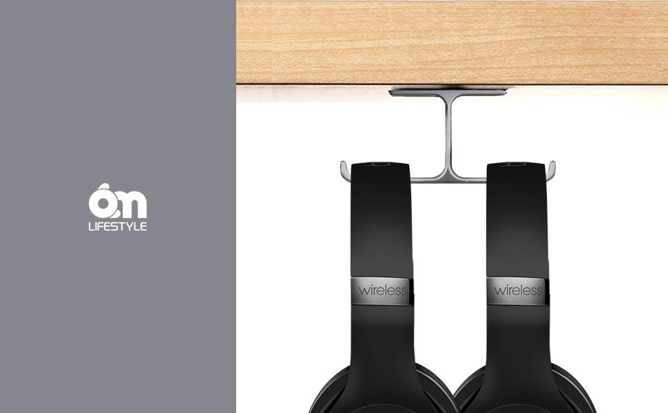 6amLifestyle Headphone Headset Stand Holder Under desk Dual Headsets Hanger Mount Aluminum Patented Stick-On Hooks Universal for All Headphones Black