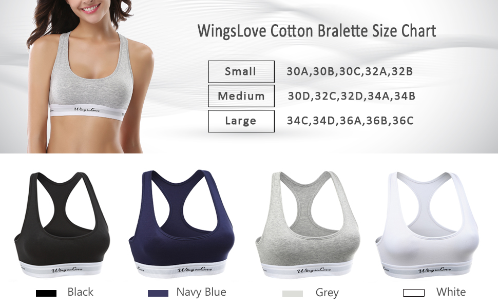 22aedc9ffe WingsLove Women s Seamless Wirefree Pullover Racerback Cotton Bralette for  Low Impact Sport